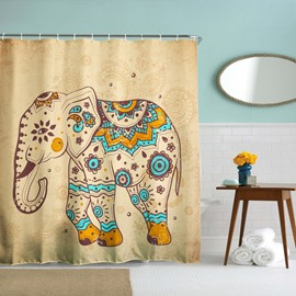 3D Mouldproof Cute Cartoon Elephant Printed Polyester Bathroom Shower Curtain