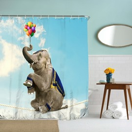 3D Mouldproof Sitting Elephant and Balloon Printed Polyester Bathroom Shower Curtain