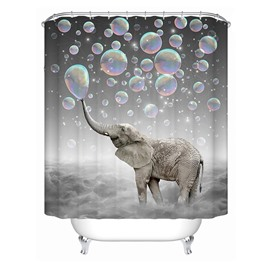 3D Mouldproof Bubble and Elephant Printed Polyester Gray Bathroom Shower Curtain