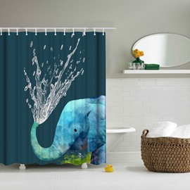 3D Mouldproof Water-Spraying Elephant Printed Polyester Blue Bathroom Shower Curtain