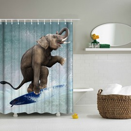 3D Mouldproof Surfing Elephant Printed Polyester Light Blue Bathroom Shower Curtain