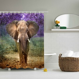 3D Mouldproof Elephant Printed Polyester Bathroom Shower Curtain