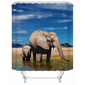 3D Mouldproof Elephant Father and Son Printed Polyester Bathroom Shower Curtain