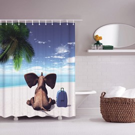 3D Mouldproof Elephant on the Beach Printed Polyester Bathroom Shower Curtain