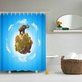 3D Mouldproof Elephant on the Earth Printed Polyester Blue Bathroom Shower Curtain