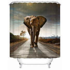 3D Mouldproof Elephant in the Wooden Path Printed Polyester Bathroom Shower Curtain