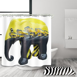 3D Mouldproof Elephant and Crane Printed Polyester Yellow Bathroom Shower Curtain