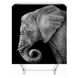 3D Mouldproof Gray Elephant Head Printed Polyester Bathroom Shower Curtain