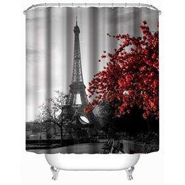 3D Maple Leaves and Eiffel Printed Polyester Bathroom Shower Curtain