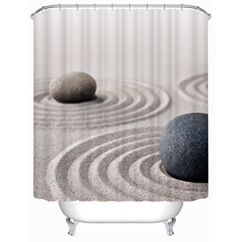 3D Sand and Stone Printed Polyester Bathroom Shower Curtain