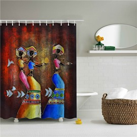 3D Oil Painting Dancing Woman Printed Polyester Bathroom Shower Curtain