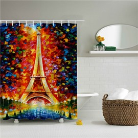 3D Oil Painting Eiffel Printed Polyester Bathroom Shower Curtain