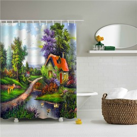 3D Oil Painting House Printed Polyester Colorful Bathroom Shower Curtain