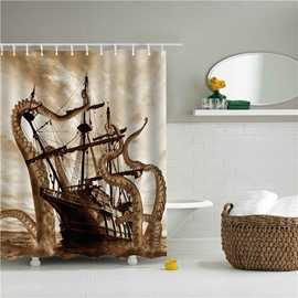 3D Big Octopus and Sailing Boat Printed Polyester Bathroom Shower Curtain