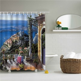 3D Oil Painting City Nearby the Sea Printed Polyester Bathroom Shower Curtain