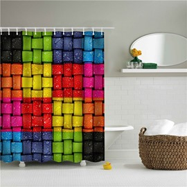 3D Weaved Stripes Polyester Colorful Bathroom Shower Curtain