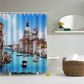 3D Venice Printed Polyester Blue Bathroom Shower Curtain