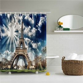 3D Eiffel Tower Printed Polyester Bathroom Shower Curtain