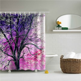 3D Oil Painting Tree Printed Polyester Purple Bathroom Shower Curtain