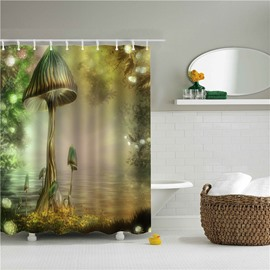 3D Mushroom in Fairyland Printed Polyester Bathroom Shower Curtain