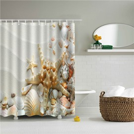 3D Starfish Printed Polyester White Bathroom Shower Curtain