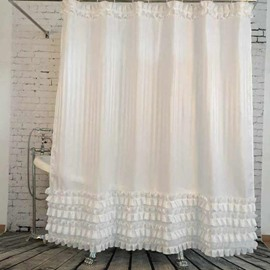 Lace Trimming Polyester White Bathroom Shower Curtain