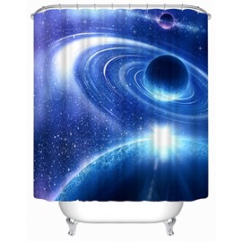 3D Galaxy Printed Polyester Blue Bathroom Shower Curtain