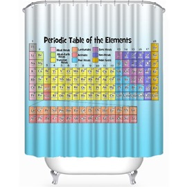 Periodic Table of the Elements Printed Light Blue Polyester Bathroom Shower Curtain