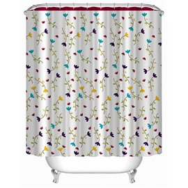 3D Floral Polyester White Bathroom Shower Curtain