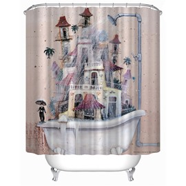 3D Old Bathtub Printed Polyester Light Pink Bathroom Shower Curtain