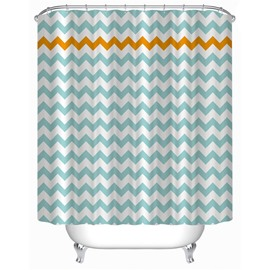 3D Wave-Like Stripes Polyester Light Blue Bathroom Shower Curtain