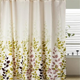 Colorful Leaves Printed Polyester Bathroom Shower Curtain