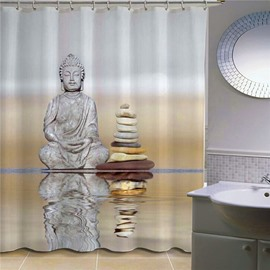 3D Buddha and Stone Printed Polyester Bathroom Shower Curtain