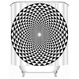 3D Dimensional Fgiures Printed Black and White Polyester Bathroom Shower Curtain