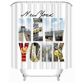 3D NewYork Scenery Printed Polyester White Bathroom Shower Curtain