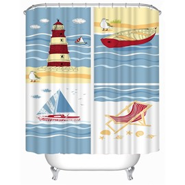 3D Lighthouse and Sailing Printed Polyester Bathroom Shower Curtain