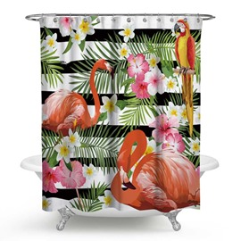 3D Waterproof Flamingo Parrot and Flowers Printed Polyester Shower Curtain