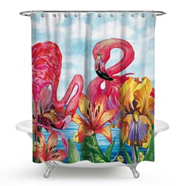 3D Waterproof Flamingos and Red Lilies Printed Polyester Shower Curtain