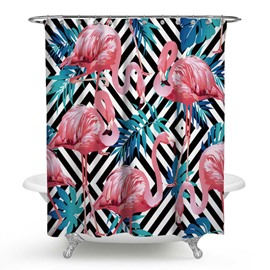 3D Waterproof Flamingos and Diamonds Printed Polyester Shower Curtain