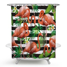 3D Waterproof Flamingos and Green Plants Printed Polyester Shower Curtain