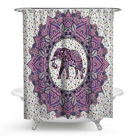 3D Waterproof Purple Elephant Printed Polyester Floral Shower Curtain