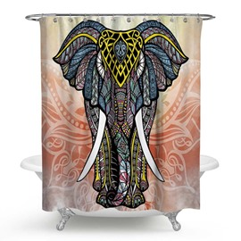 3D Waterproof Bohemia Style Elephant Printed Polyester Shower Curtain