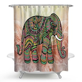 3D Waterproof Green Elephant Printed Polyester Shower Curtain