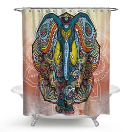 3D Waterproof Fierce Elephant Printed Polyester Shower Curtain