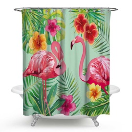 3D Waterproof Flamingos and Tropical Plants Printed Polyester Shower Curtain