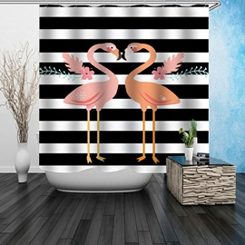 3D Waterproof Stripes and Flamingos Printed Polyester Shower Curtain