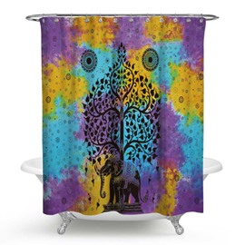 3D Waterproof Elephant and Tree Printed Polyester Shower Curtain