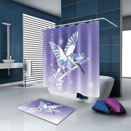3D Waterproof Flying Magpie Printed Polyester Purple Shower Curtain