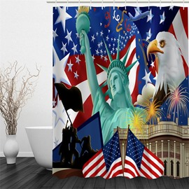3D Eagle National Flag and The Statue Liberty Polyester Waterproof Eco-friendly Shower Curtain