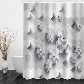 3D White Flowers Printed Pattern Polyester Waterproof and Eco-friendly Shower Curtain